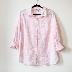 Pink + White Striped Button Down // Old Navy